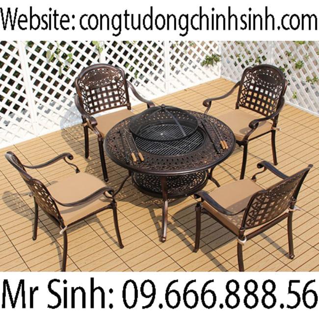 Bàn ghế nhôm đúc - BG007